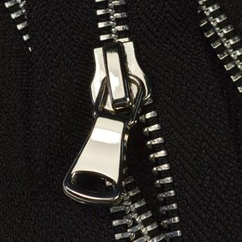 Молния металлическая разъемная 5Т, 100см, шлифованная, слайдер G40, зубцы никель цвет 322-черный, 2 слайдера