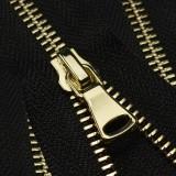 Молния металлическая неразъемная 5Т, шлифованная  14см, слайдер G40, зубцы золото, цвет 322-черный