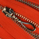 Молния металлическая неразъемная 5Т, 16см, слайдер кривая капля, зубцы никель, цвет 162-красный