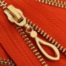 Молния металлическая неразъемная 5Т, 16см, слайдер кривая капля, зубцы светлое золото, цвет 162-красный