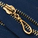 Молния металлическая неразъемная 5Т, 16см, слайдер кривая капля, зубцы золото, цвет 225-темно-синий