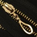 Молния металлическая неразъемная 5Т, 16см, слайдер кривая капля, зубцы золото, цвет 322-черный