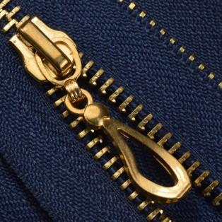 Молния металлическая неразъемная 5Т, 16см, слайдер кривая капля, зубцы золото, цвет 330-темно-синий
