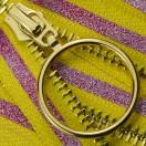 Молния металлическая неразъемная 5Т, 18см, слайдер кольцо- 5180, зубцы золото, шлифованная, цвет желто-розовый