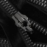 Молния металлическая неразъемная 5Т, 20см, без пуллера, зубцы оксид, цвет 322-чёрный бархат