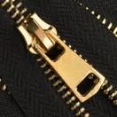 Молния металлическая неразъёмная 5Т, 20см, слайдер G41, зубцы светлое золото, цвет 322-чёрный