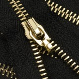 Молния металлическая неразъемная 5Т, 20см, без пуллера, зубцы золото, цвет 322-чёрный