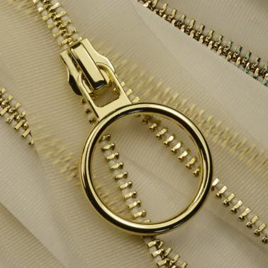 Молния металлическая неразъемная 5Т, 20см, слайдер кольцо-5180, зубцы золото, цвет прозрачный