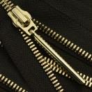 Молния металлическая разъемная 5Т, 30см, слайдер палочка длинная-5070, зубцы золото, акулий зуб, шлифованная, цвет черный