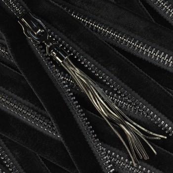 Молния металлическая разъемная 5Т, 35см, слайдер 61639, зубцы оксид, шлифованная, цвет 322 черный бархат