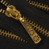 Молния металлическая разъемная 5Т, 35см, слайдер снежинка, зубцы золото, цвет 322-черный