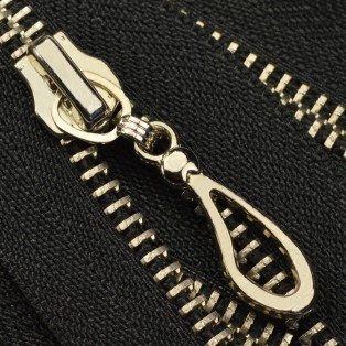 Молния металлическая разъемная 5Т, 40см, слайдер кривая капля, зубцы никель, цвет 322-черный