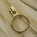 Молния металлическая неразъемная 5Т, 55см, слайдер кольцо-5180 зубцы золото, шлифованная, цвет прозрачный