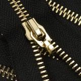 Молния металлическая разъемная 5Т, 70см, без  пуллера, зубцы золото, цвет 322-черный