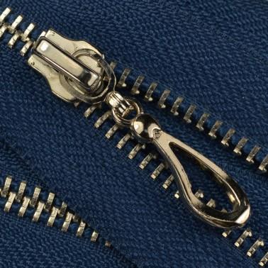 Молния металлическая разъемная 5Т, 70см, слайдер кривая капля, зубцы никель, цвет 330-темно-синий