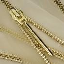 Молния металлическая разъемная 5Т, 70см, слайдер палочка длинная-5070, зубцы золото, шлифованная, цвет прозрачный