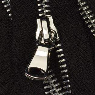 Молния металлическая разъемная 5Т, 90см, шлифованная, слайдер G40, зубцы никель цвет 322-черный, 2 слайдера