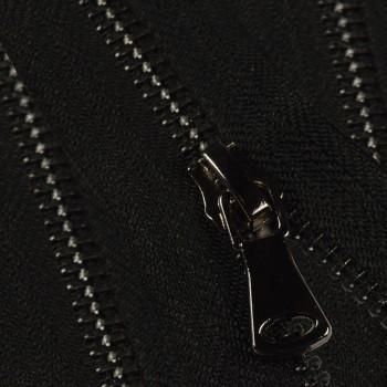 Молния металлическая разъемная 5Т, 90см, шлифованная, слайдер G40, зубцы оксид цвет 322-черный, 2 слайдера