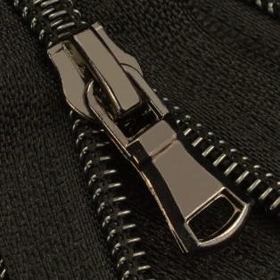 Молния витая разъёмная T7, 70см, слайдер G30, зубцы оксид с черной ниткой, цвет 322-черный