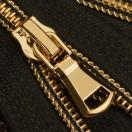 Молния витая разъёмная Т7, 70см, слайдер G30, зубцы золото с черной ниткой, цвет 322-черный