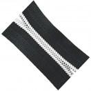 Молния рулонная витая пластик 4T, прошитая белой ниткой,зубцы серебро, цвет 322-чёрный, (рул=100м)