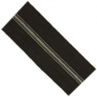 Молния рулонная витая пластик 5Т,прошитая чёрной ниткой, зубцы серебро, цвет 322-чёрный, (рул=100м)