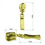 Слайдер на молнию металлическую, тип 3, палочка, цвет золото