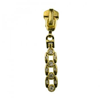 Слайдер на молнию металлическую, тип 5, 10 камней, цвет золото